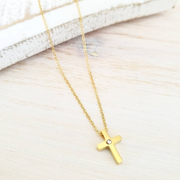 Fio cruz brilhante dourada